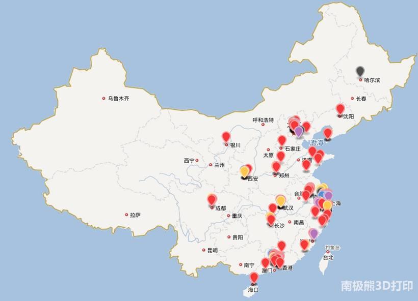 中国3d打印地图:北京,江浙沪,广东,西安势力最大